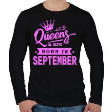 PRINTFASHION A királynők szeptemberben születnek - Férfi hosszú ujjú póló - Fekete