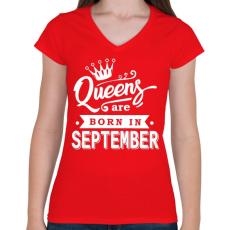 PRINTFASHION A királynők szeptemberben születnek - Női V-nyakú póló - Piros