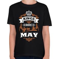 PRINTFASHION A királyok májusban születnek - Gyerek póló - Fekete