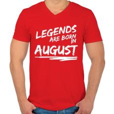 PRINTFASHION A legendák augusztusban születnek - Férfi V-nyakú póló - Piros