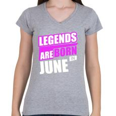 PRINTFASHION A legendák júniusban születnek - Női V-nyakú póló - Sport szürke