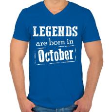 PRINTFASHION A legendák októberben születnek - Férfi V-nyakú póló - Királykék