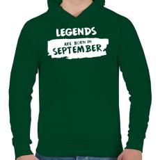 PRINTFASHION A legendák szeptemberben születnek - Férfi kapucnis pulóver - Sötétzöld
