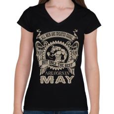 PRINTFASHION A legjobbak májusban születnek - Női V-nyakú póló - Fekete