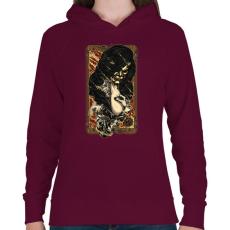 PRINTFASHION A tűz rejtett arca - Női kapucnis pulóver - Bordó