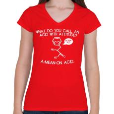 PRINTFASHION ACID - Női V-nyakú póló - Piros