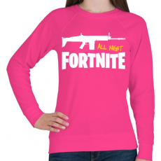 PRINTFASHION All night FORTNITE - Női pulóver - Fukszia