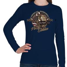 PRINTFASHION Amerikai bombázó - Női hosszú ujjú póló - Sötétkék