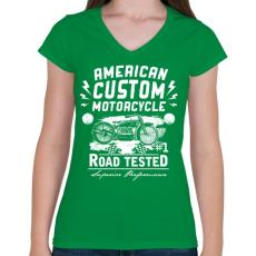 PRINTFASHION Amerikai hagyományos motor  - Női V-nyakú póló - Zöld