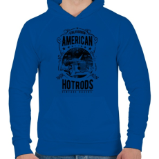 PRINTFASHION Amerikai Hotrods - Férfi kapucnis pulóver - Királykék
