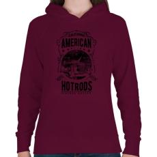 PRINTFASHION Amerikai Hotrods - Női kapucnis pulóver - Bordó
