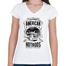 PRINTFASHION Amerikai Hotrods - Női V-nyakú póló - Fehér