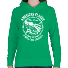PRINTFASHION Amerikai klasszikus - Női kapucnis pulóver - Zöld