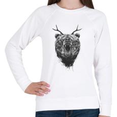 PRINTFASHION Angry bear with antlers - Női pulóver - Fehér