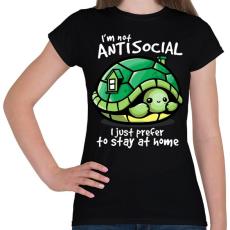 PRINTFASHION Antiszoci teknős - Női póló - Fekete