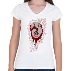 PRINTFASHION Anyaróka - Női V-nyakú póló - Fehér