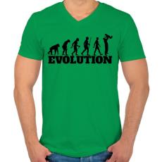 PRINTFASHION APA evolúció - Férfi V-nyakú póló - Zöld