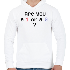 PRINTFASHION Are you 1 or 0? - Férfi kapucnis pulóver - Fehér