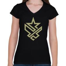 PRINTFASHION Army - Női V-nyakú póló - Fekete