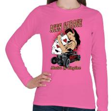 PRINTFASHION Ász garázs - Női hosszú ujjú póló - Rózsaszín