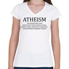 PRINTFASHION ATHEISM - Női V-nyakú póló - Fehér