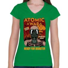 PRINTFASHION Atomháború - Női V-nyakú póló - Zöld
