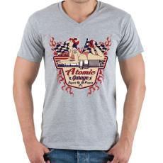 PRINTFASHION Atomi garázs - Férfi V-nyakú póló - Sport szürke