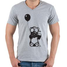 PRINTFASHION Atommaci - Férfi V-nyakú póló - Sport szürke