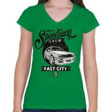 PRINTFASHION Autópálya - Női V-nyakú póló - Zöld