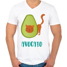 PRINTFASHION Avocato - Férfi V-nyakú póló - Fehér