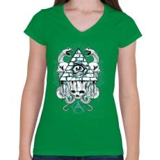 PRINTFASHION Az anarchia szeme - Női V-nyakú póló - Zöld