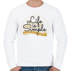 PRINTFASHION Az élet egyszerű - Férfi pulóver - Fehér