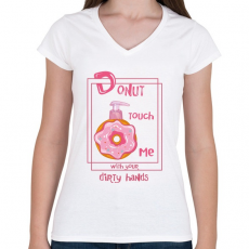 PRINTFASHION Az ellenállhatatlan fánk - Női V-nyakú póló - Fehér