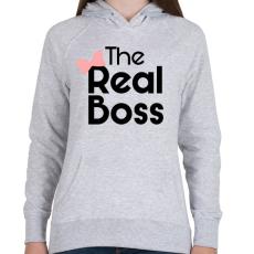 PRINTFASHION Az igazi főnök! - Női kapucnis pulóver - Sport szürke