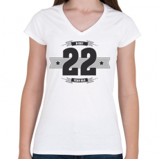 PRINTFASHION b-day-22-dark-lightgrey - Női V-nyakú póló - Fehér