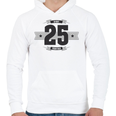 PRINTFASHION b-day-25-dark-lightgrey - Férfi kapucnis pulóver - Fehér