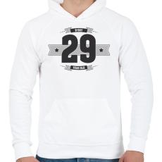 PRINTFASHION b-day-29-dark-lightgrey - Férfi kapucnis pulóver - Fehér