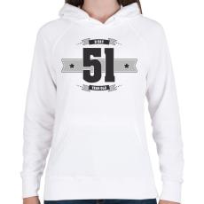 PRINTFASHION b-day-51-dark-lightgrey - Női kapucnis pulóver - Fehér