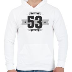 PRINTFASHION b-day-53-dark-lightgrey - Férfi kapucnis pulóver - Fehér