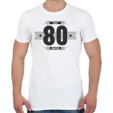 PRINTFASHION b-day-80-dark-lightgrey - Férfi póló - Fehér