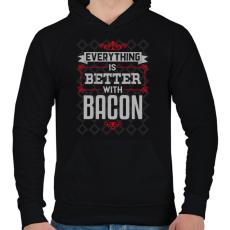 PRINTFASHION Bacon - Férfi kapucnis pulóver - Fekete