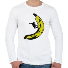 PRINTFASHION Banán deszkás - Férfi hosszú ujjú póló - Fehér