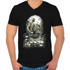 PRINTFASHION Bányászhalál - Férfi V-nyakú póló - Fekete