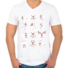 PRINTFASHION Bárányok élete - Férfi V-nyakú póló - Fehér