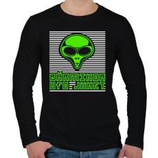 PRINTFASHION bármikor UFO jöhet - Férfi hosszú ujjú póló - Fekete