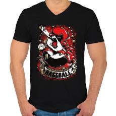 PRINTFASHION Baseball panda - Férfi V-nyakú póló - Fekete