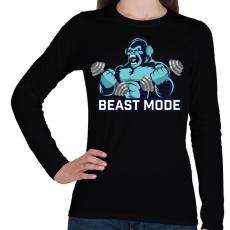 PRINTFASHION BEAST MODE - Női hosszú ujjú póló - Fekete