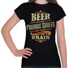 PRINTFASHION Beer Smiles - Női póló - Fekete női póló