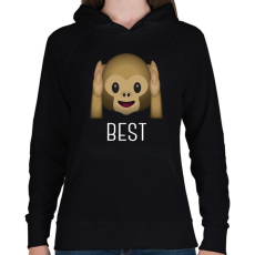PRINTFASHION Best Friends - Monkey 1 - Női kapucnis pulóver - Fekete
