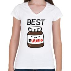 PRINTFASHION Best Friends - Nutellás kenyér 1 - Női V-nyakú póló - Fehér